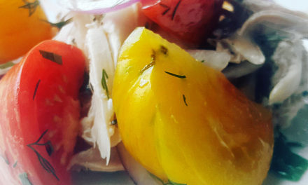 Roasted chicken heirloom tomato salad